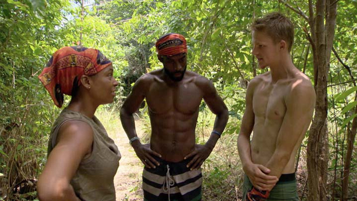Tasha, Jeremy, and Spencer have a private discussion in the woods.