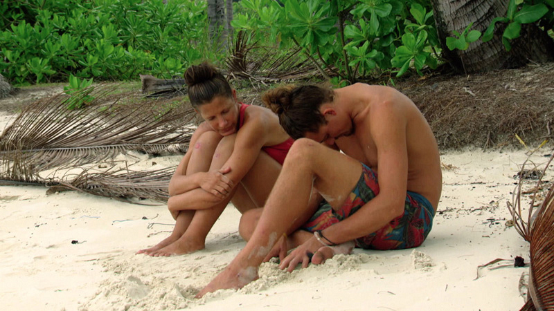 Kelly and Joe bond on the shore after last week's intense Tribal Council.
