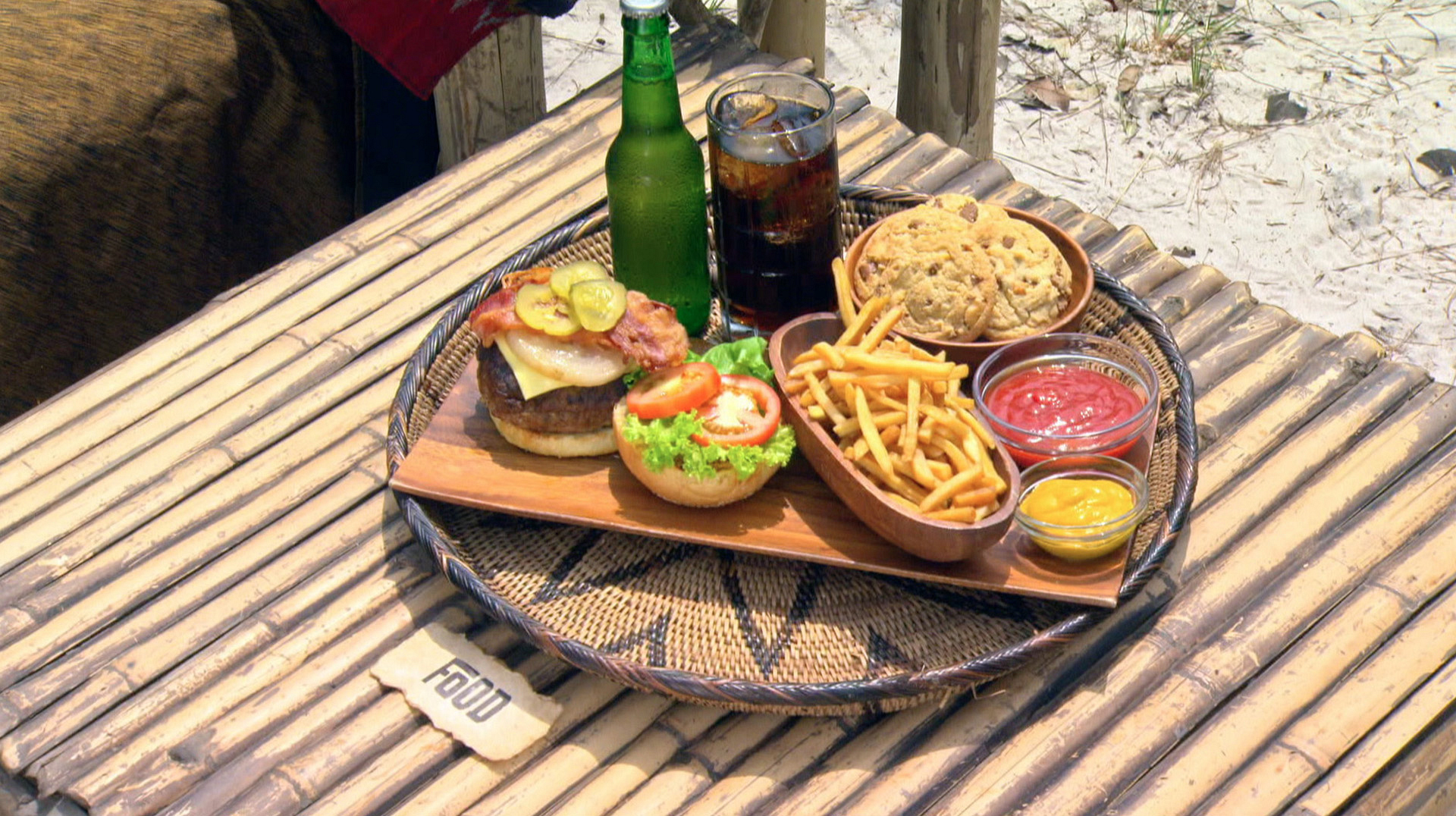One of the rewards includes a juicy burger, fries, cookie, and ice-cold beer.