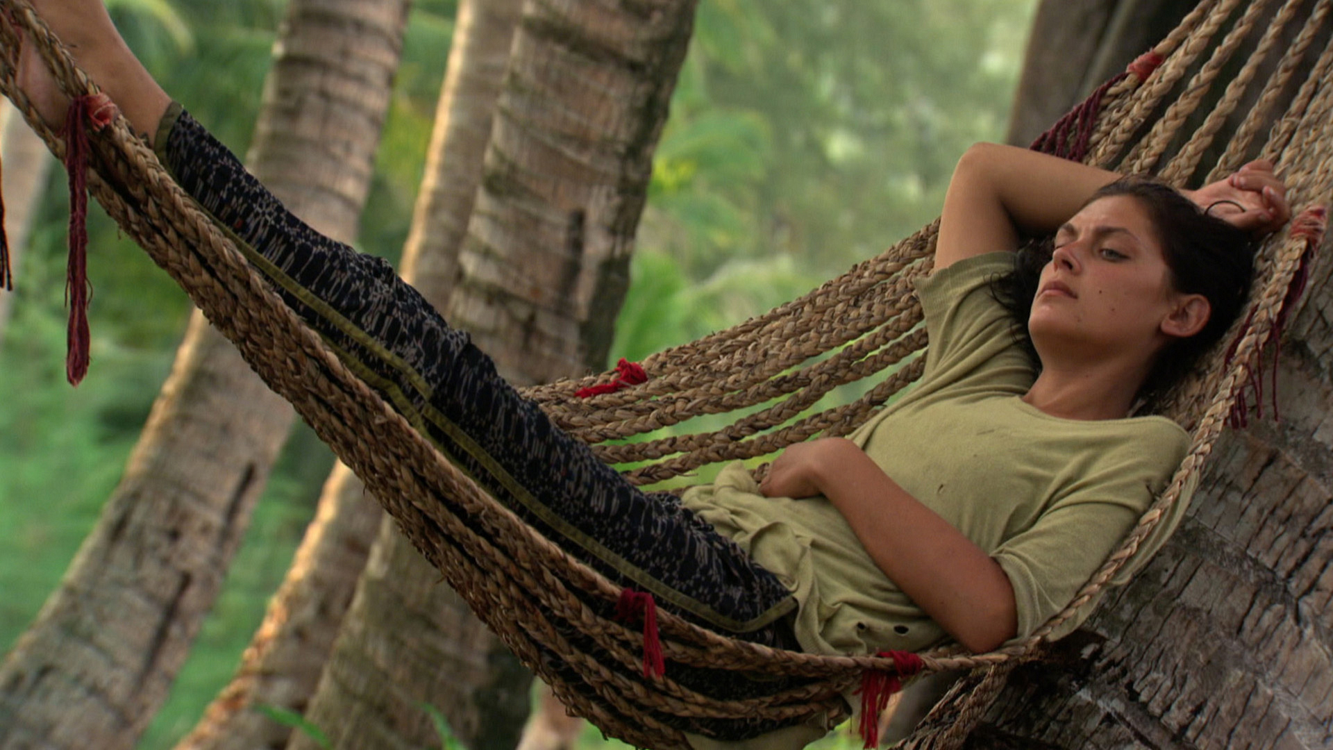 Michele relaxes on a hammock before heading into Tribal.