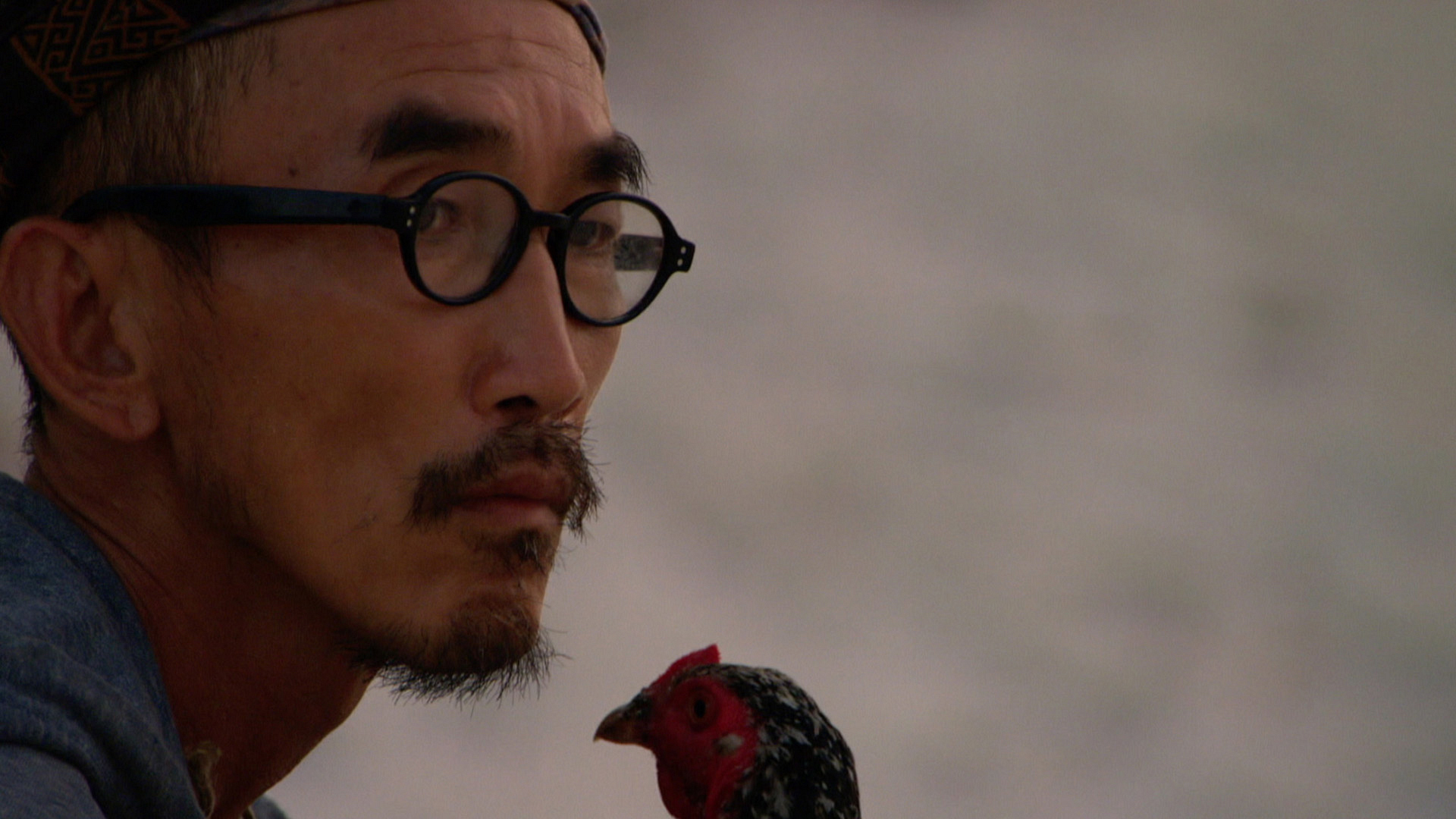 Tai spends a quiet moment with Mark, the chicken.