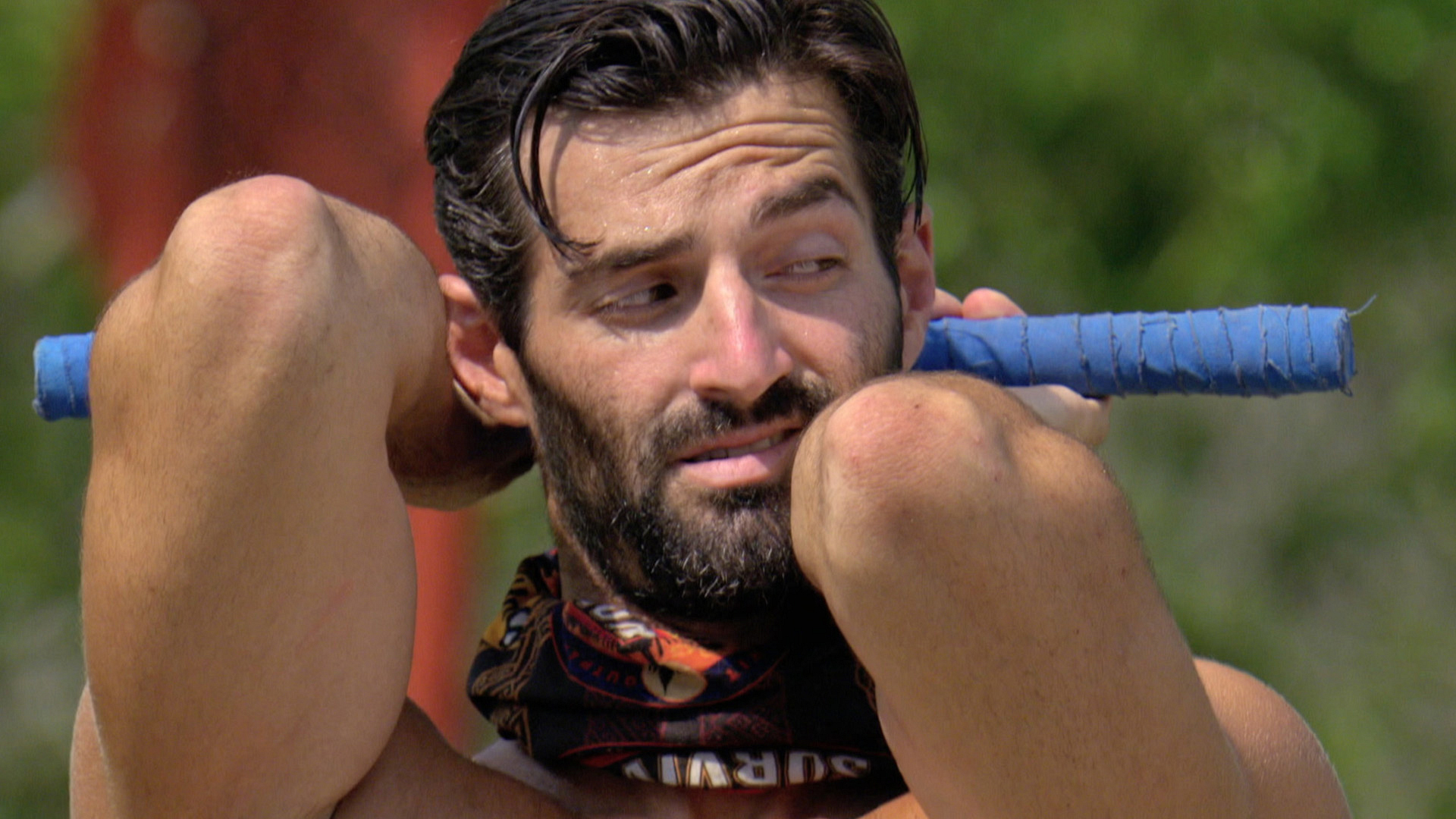 Nick notices the player next to him during the Individual Immunity Challenge.