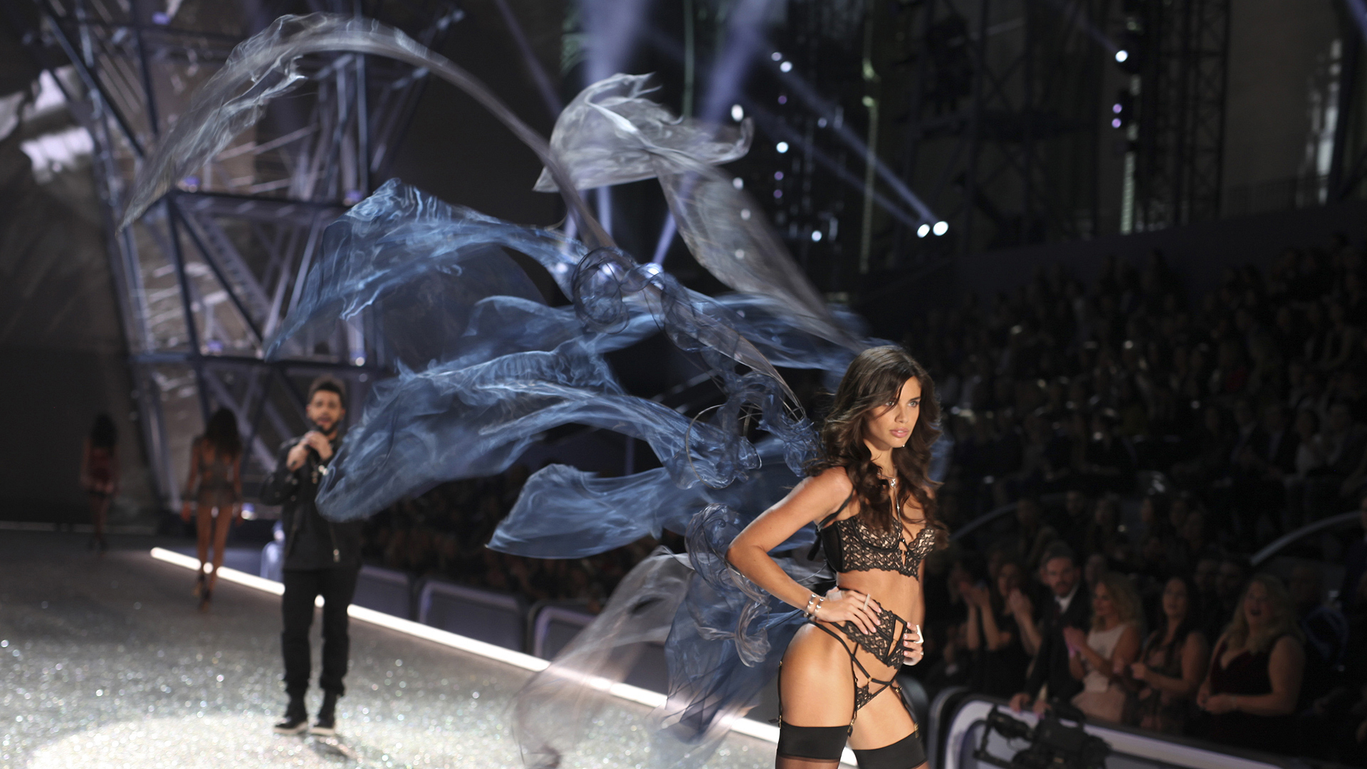 Angel Sara Sampaio meshes perfectly with her alluring asymmetrical wings.