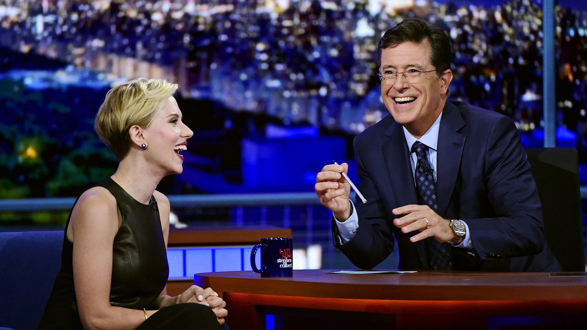 Scarlett Johansson and Stephen Colbert