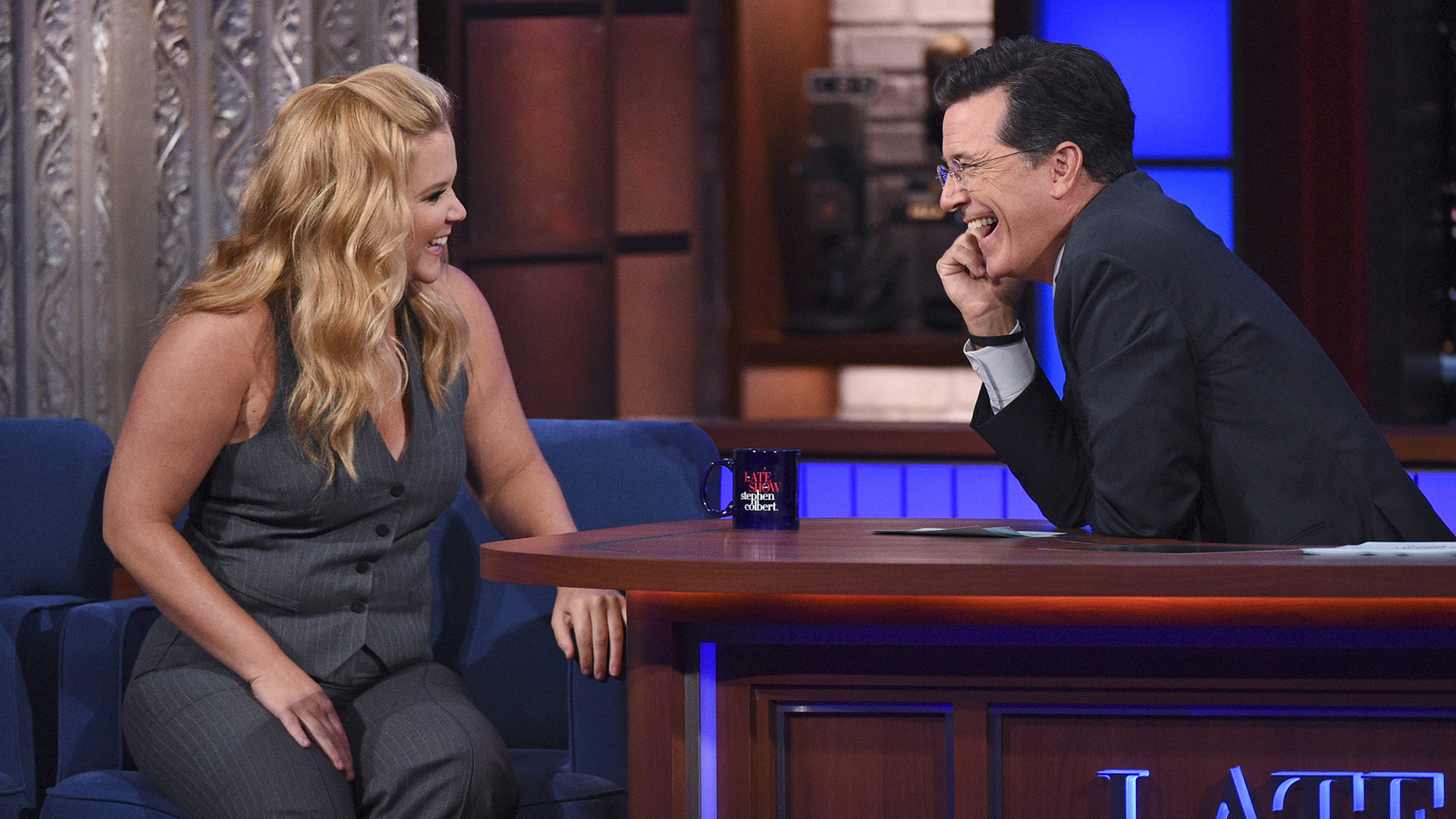 Amy Schumer and Stephen Colbert