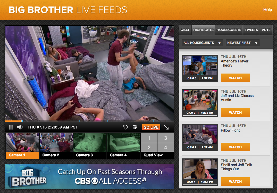 It streams the Live Feeds all summer long.