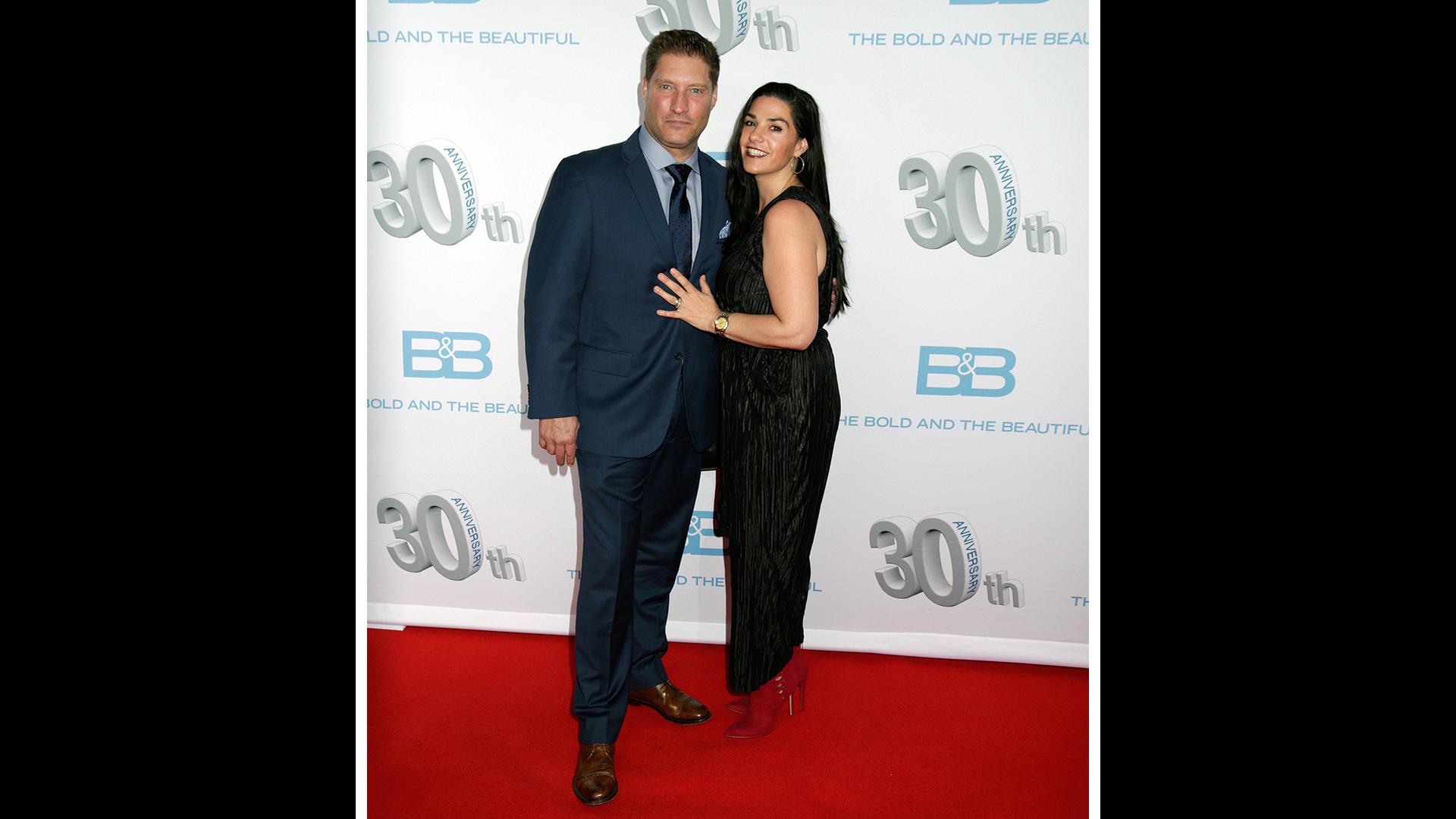 Sean Kanan makes an entrance with his wife, Michele Vega.