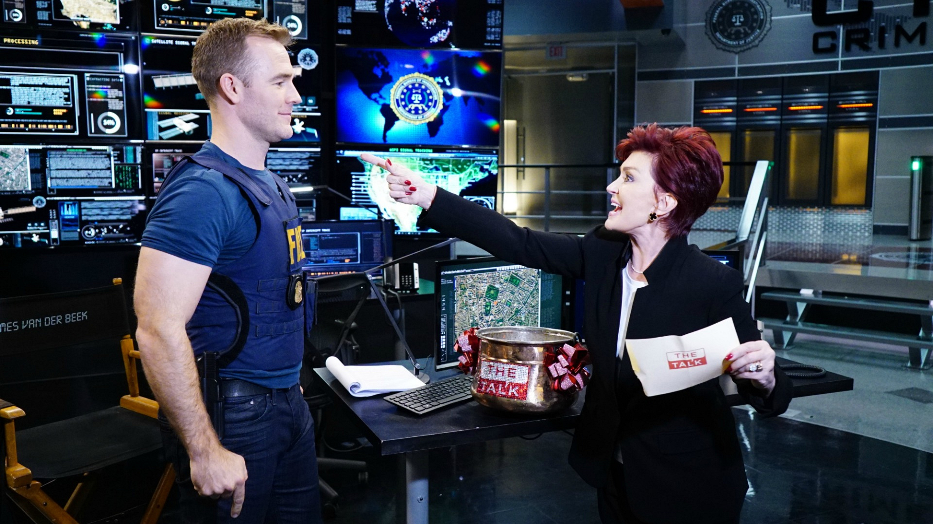The Talk's Sharon Osbourne put CSI: Cyber's James Van Der Beek in his place with a game of trivia.