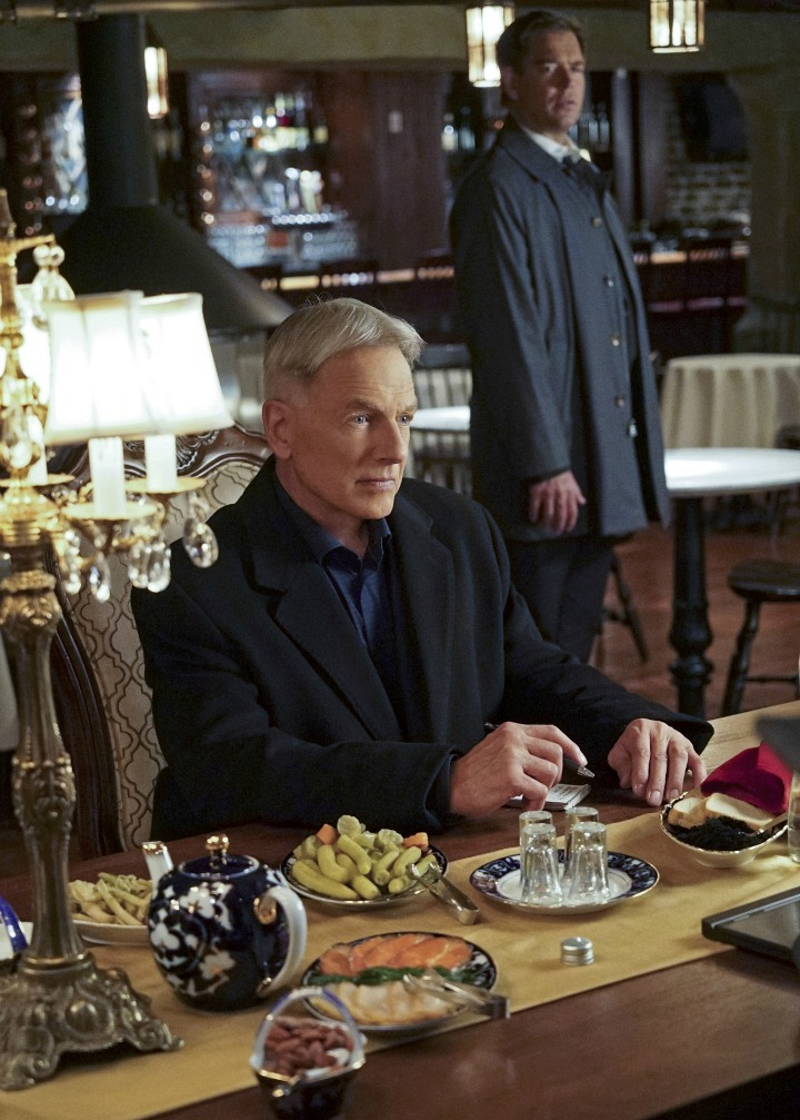 Mark Harmon as Leroy Jethro Gibbs and Michael Weatherly as Anthony DiNozzo