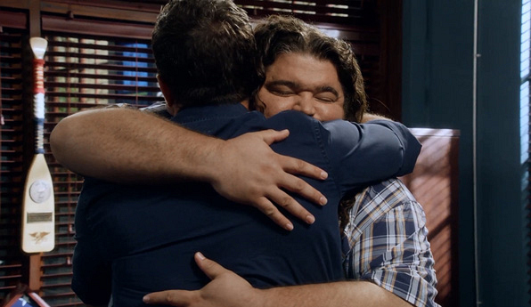 Jerry gives a bear hug so full of emotion he gets lost in the moment.