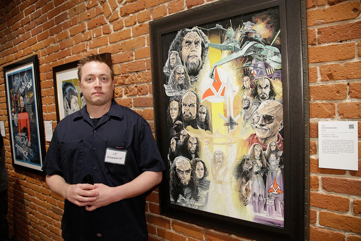J.K. Woodward with Klingon piece