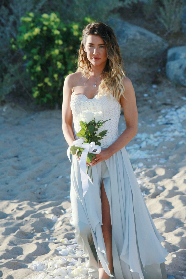Steffy stuns in beachy bridal waves.