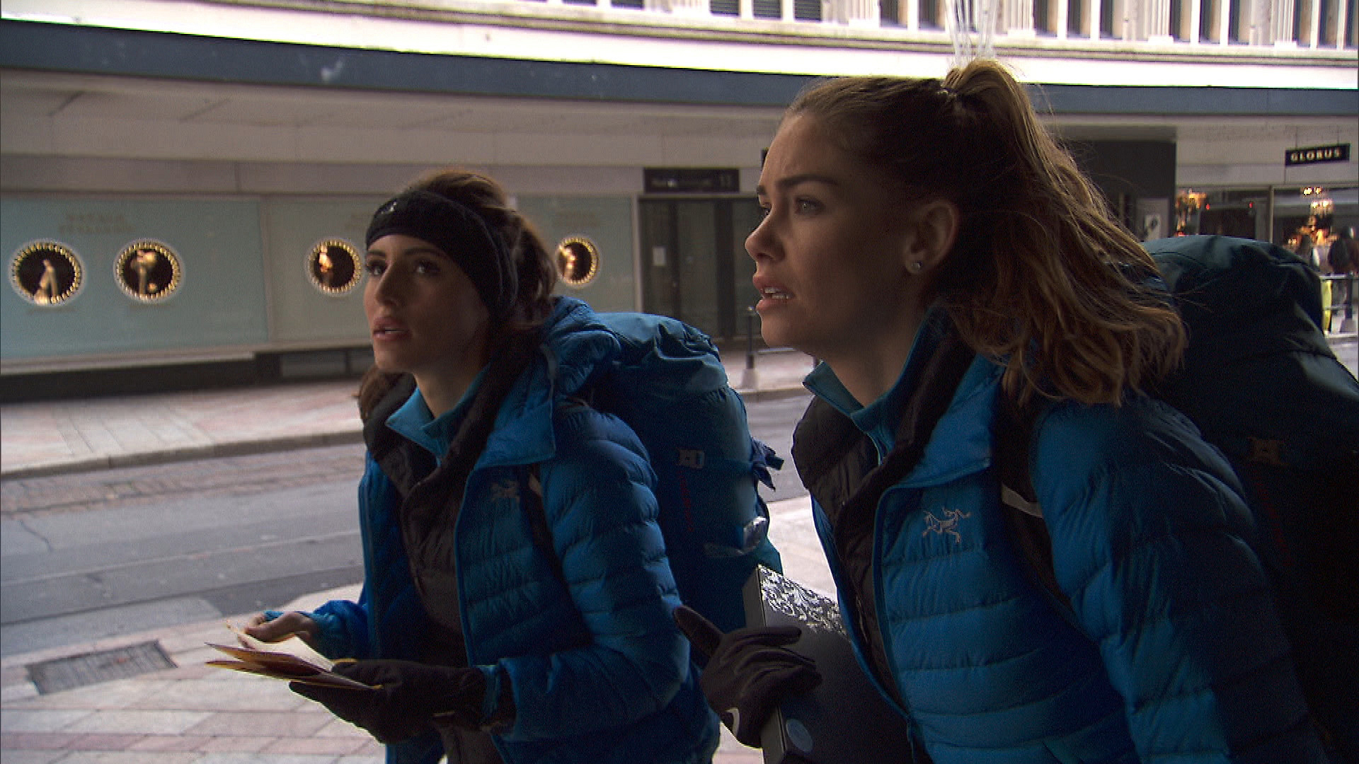 Brittany and Jessica make their way to the next destination.