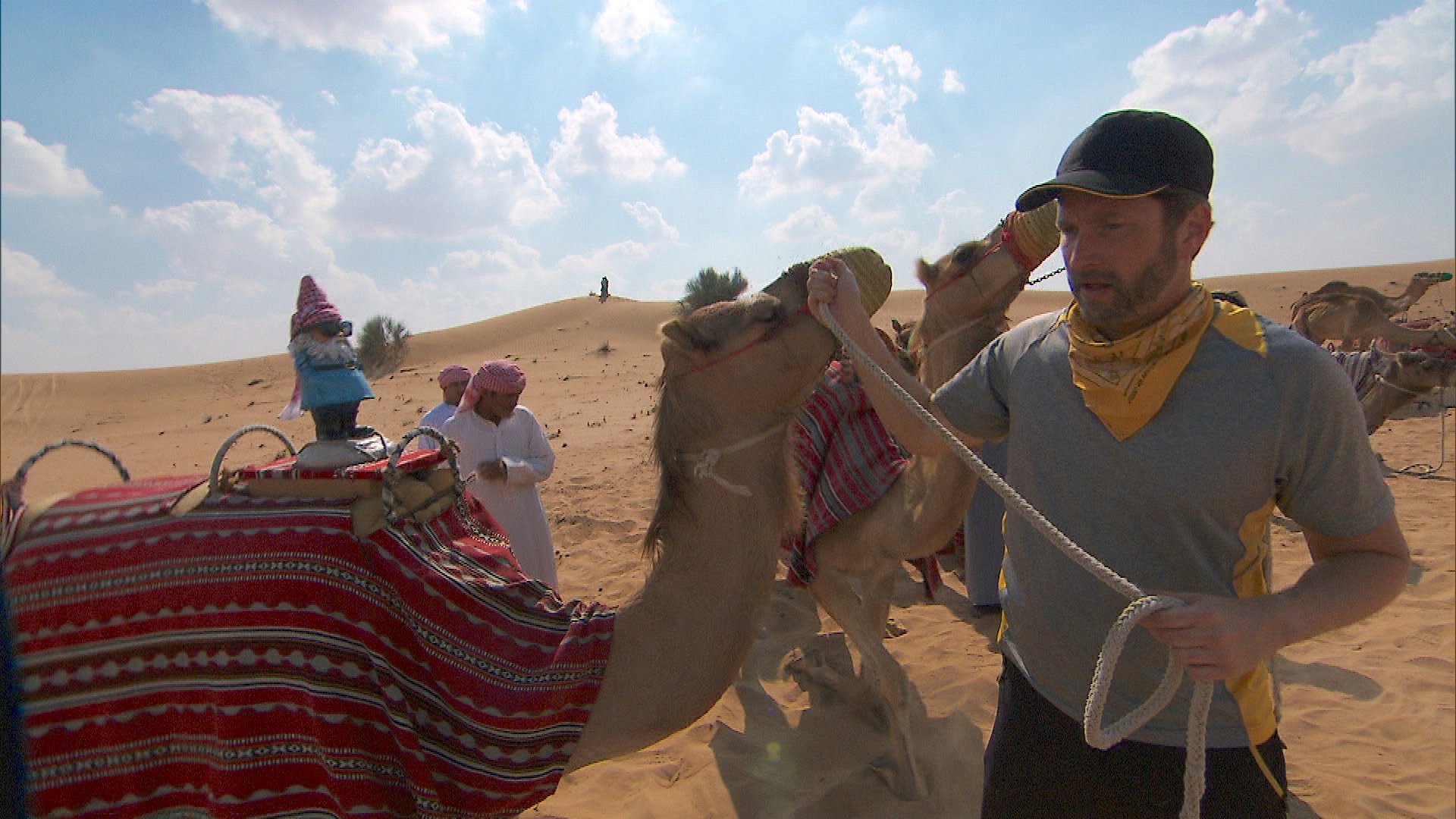 In Detour A, Burnie and Ashley must deliver four camels to a Bedouin camp.