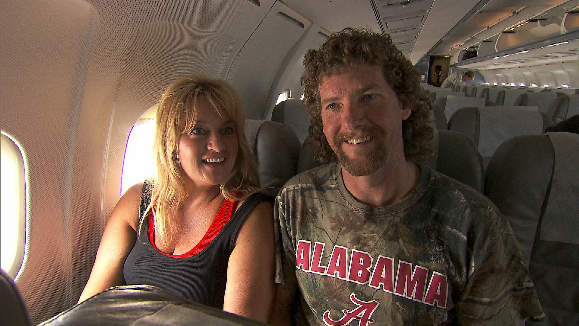 "On the plane in ""My Cheese is Out of Control"" Episode 8 of Season 22"