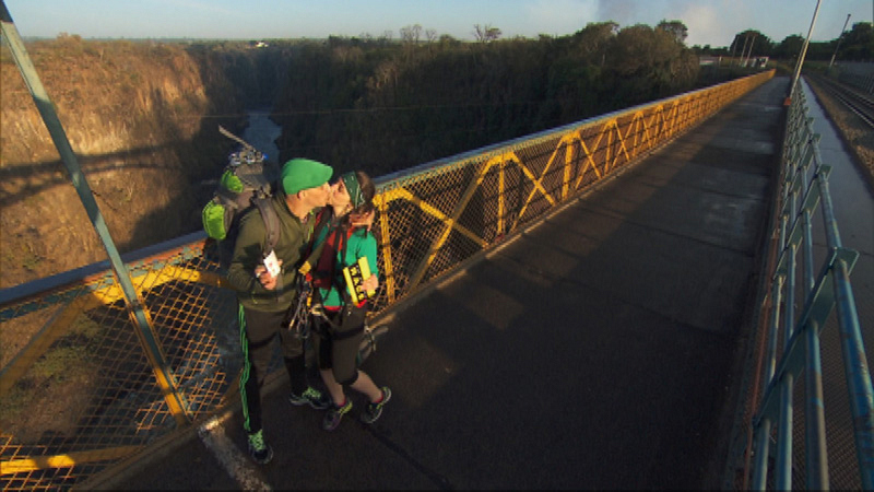 Diana (#TheGreenTeam) must bungee jump 364 feet off the Victoria Falls Bridge