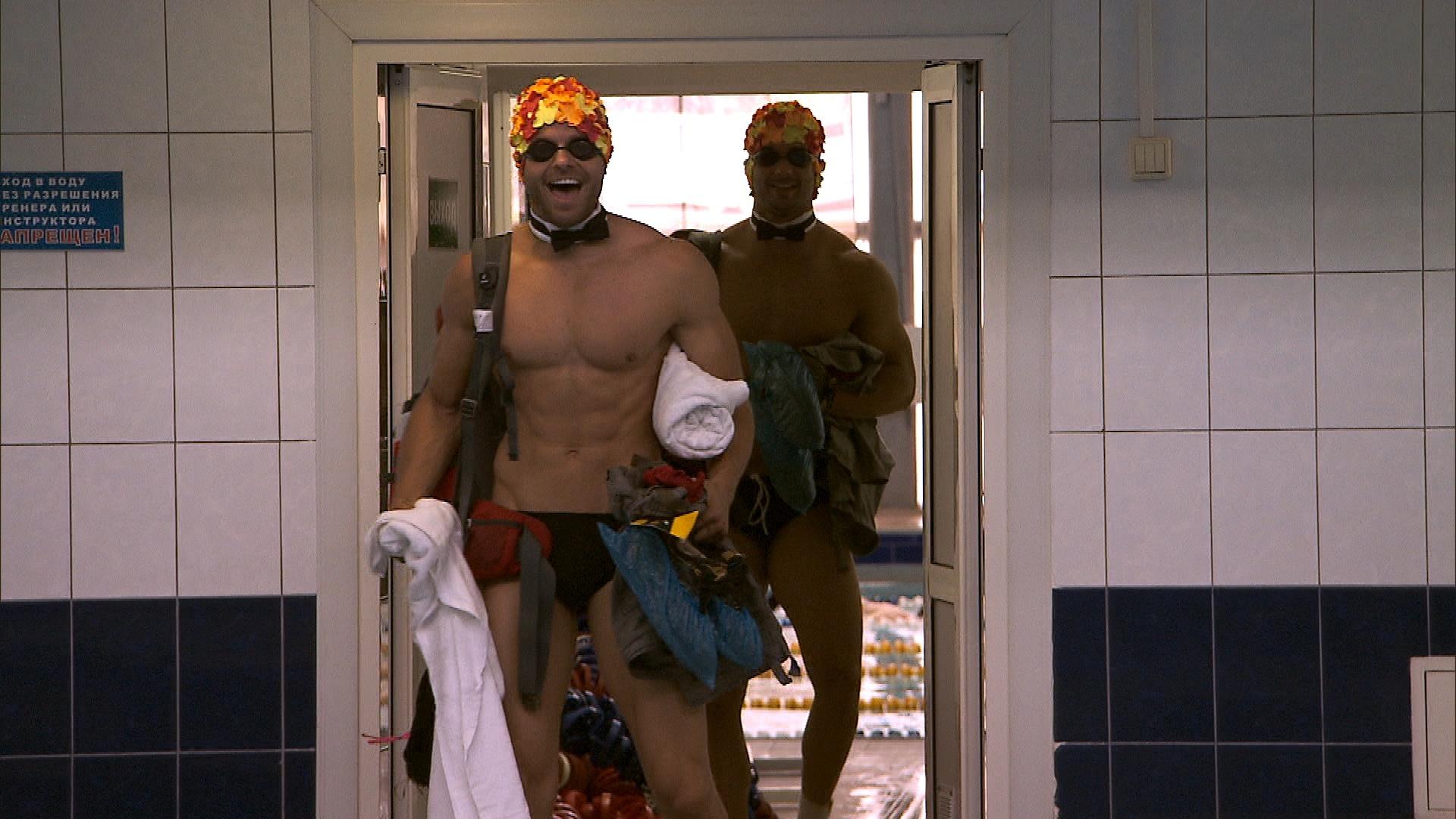 Getting ready to swim