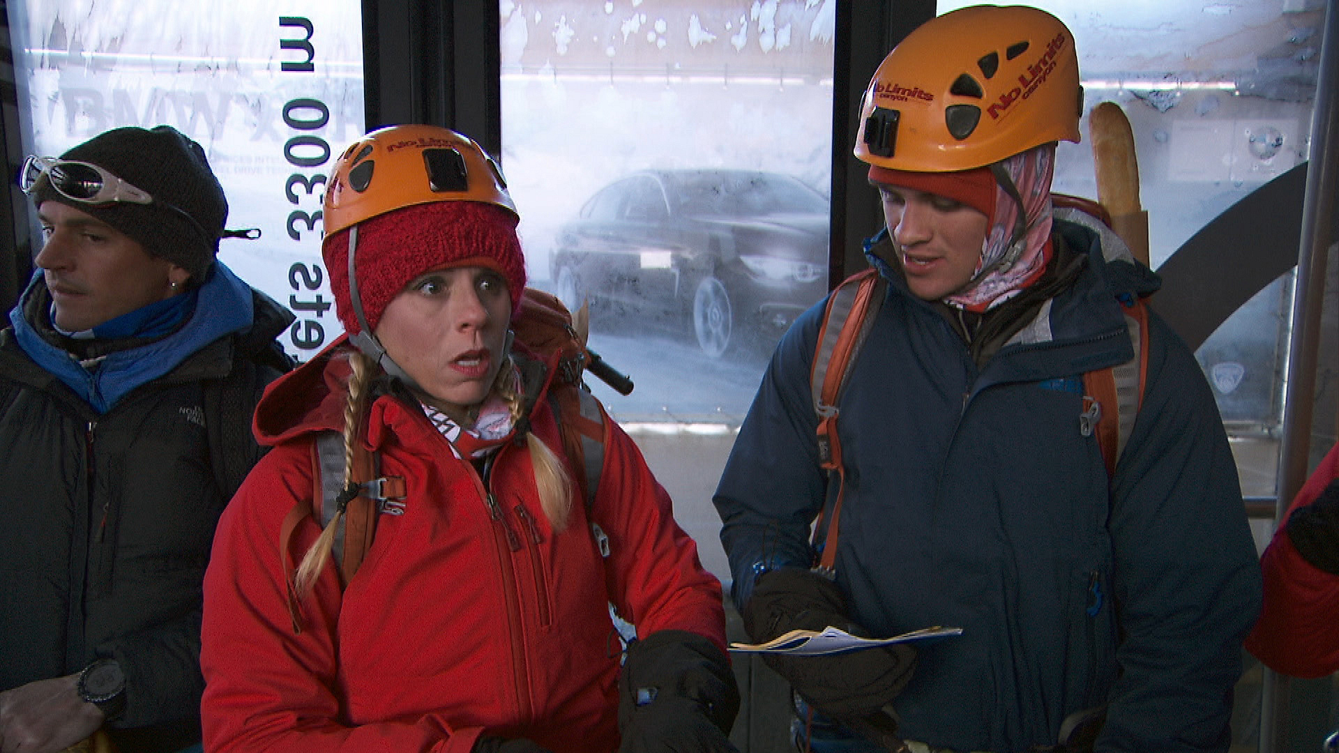 At the Route Marker, Sheri and Cole get ready to take a gondola to the upper station.