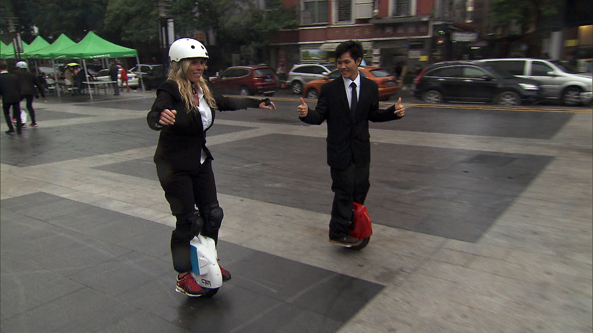 In Detour A, Sheri must ride a commuter cycle in business attire.
