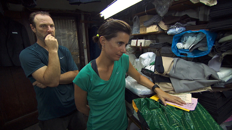 In Detour A, Chris and Logan (#ThePaparazzi) must choose a fabric sample and set of measurements