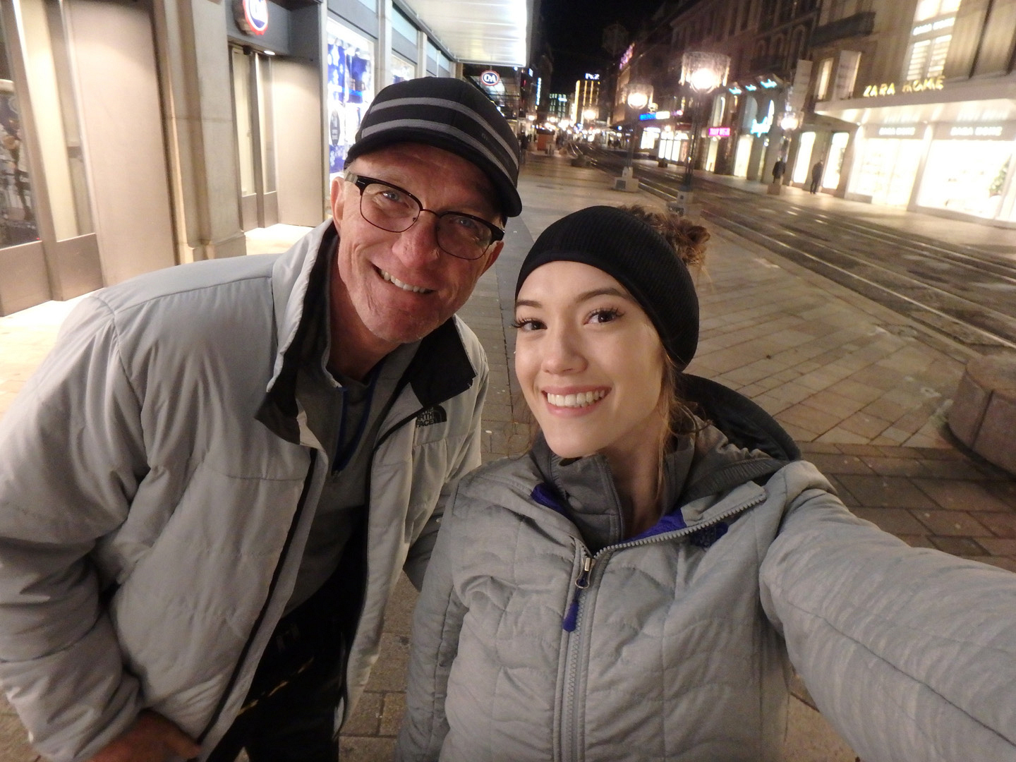 Scott and his daughter, Blair, are all smiles in Geneva, Switzerland.