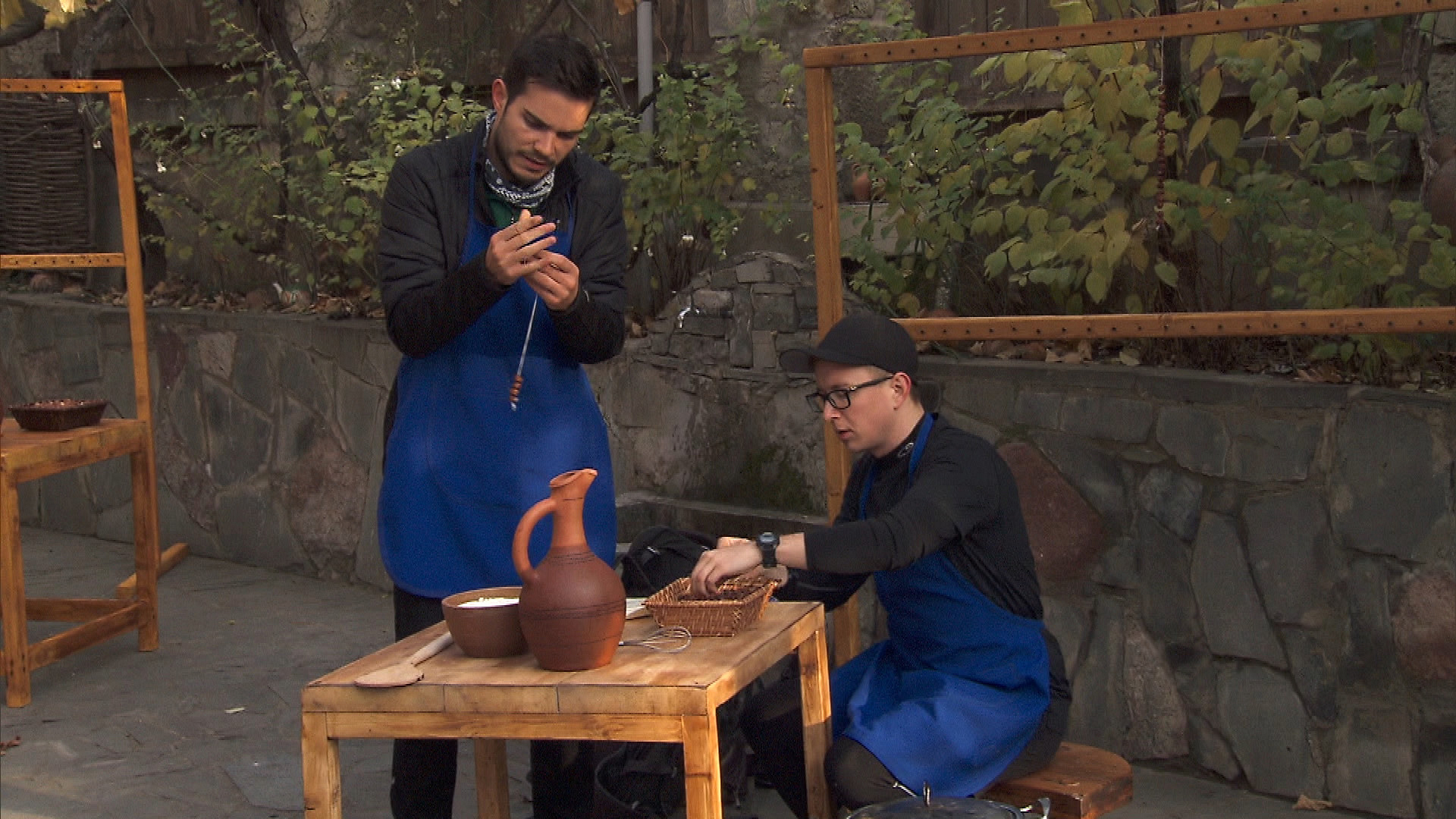 Korey and Tyler keep busy making traditional Georgian candy.