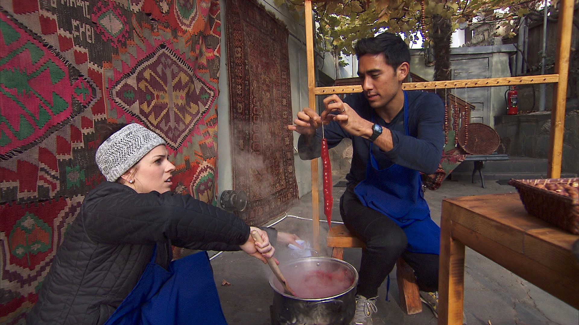 Rachel and Zach learn there's a very specific way to make Churchkhela.