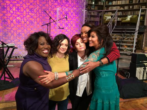 These ladies talk, laugh and hug.