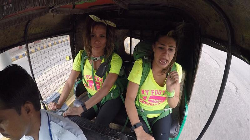 Krista (left) and Tiffany (right) travel by Tuk Tuk.