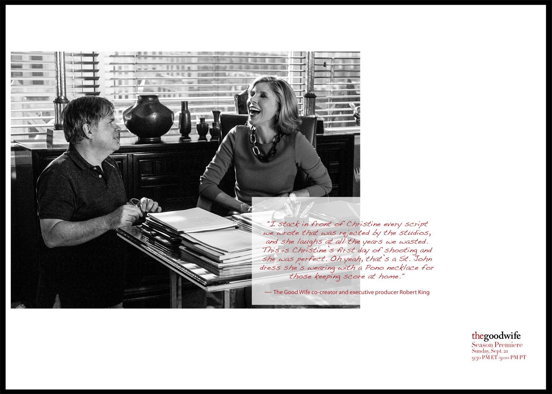 Christine Baranski shares a good laugh with The Good Wife co-creator, Robert King.