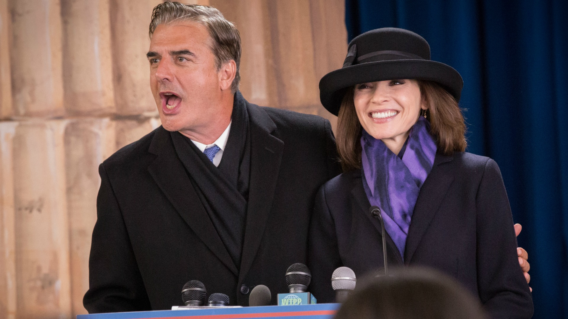 It's Alicia and Peter Florrick from The Good Wife!