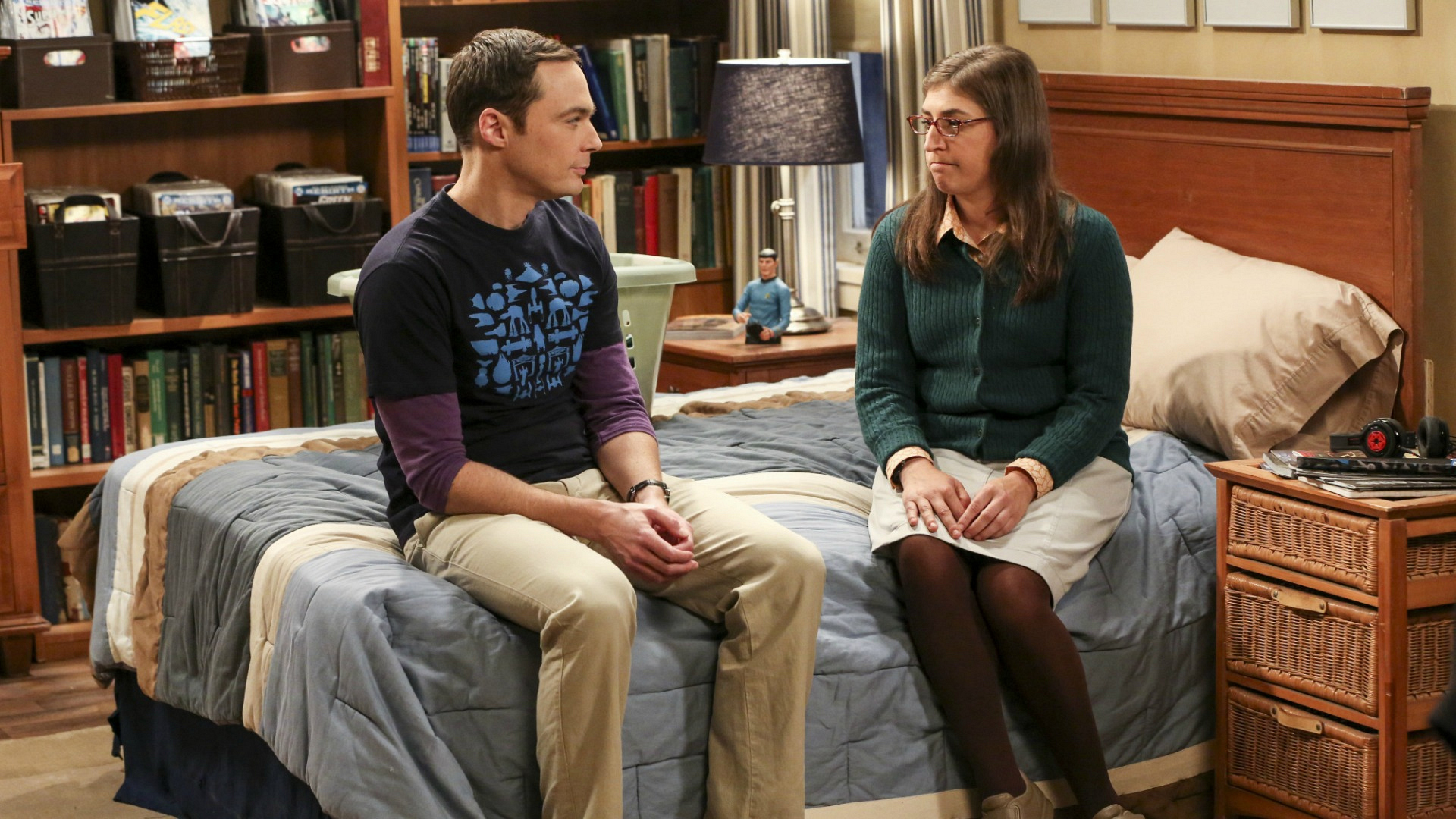 Sheldon and Amy have some serious things to talk about in his bedroom.