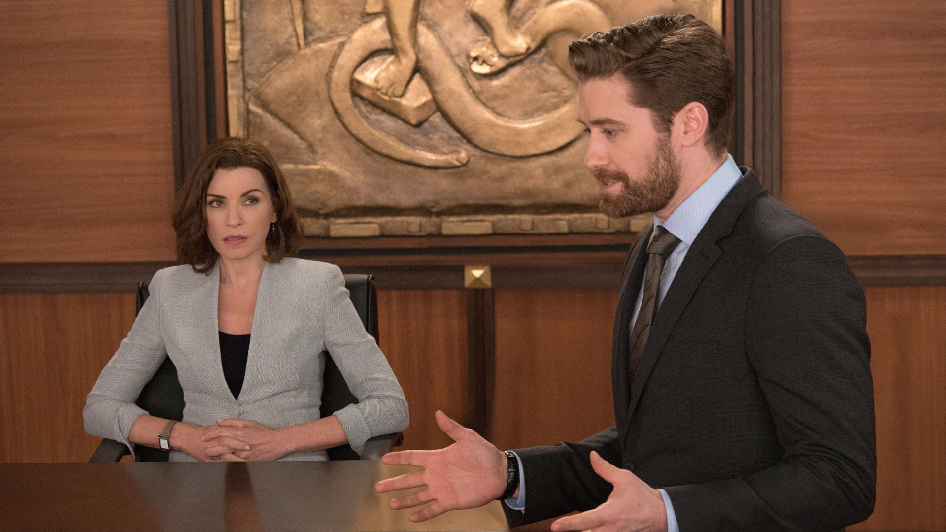 Julianna Margulies as Alicia Florrick and Matthew Morrison as Connor Fox