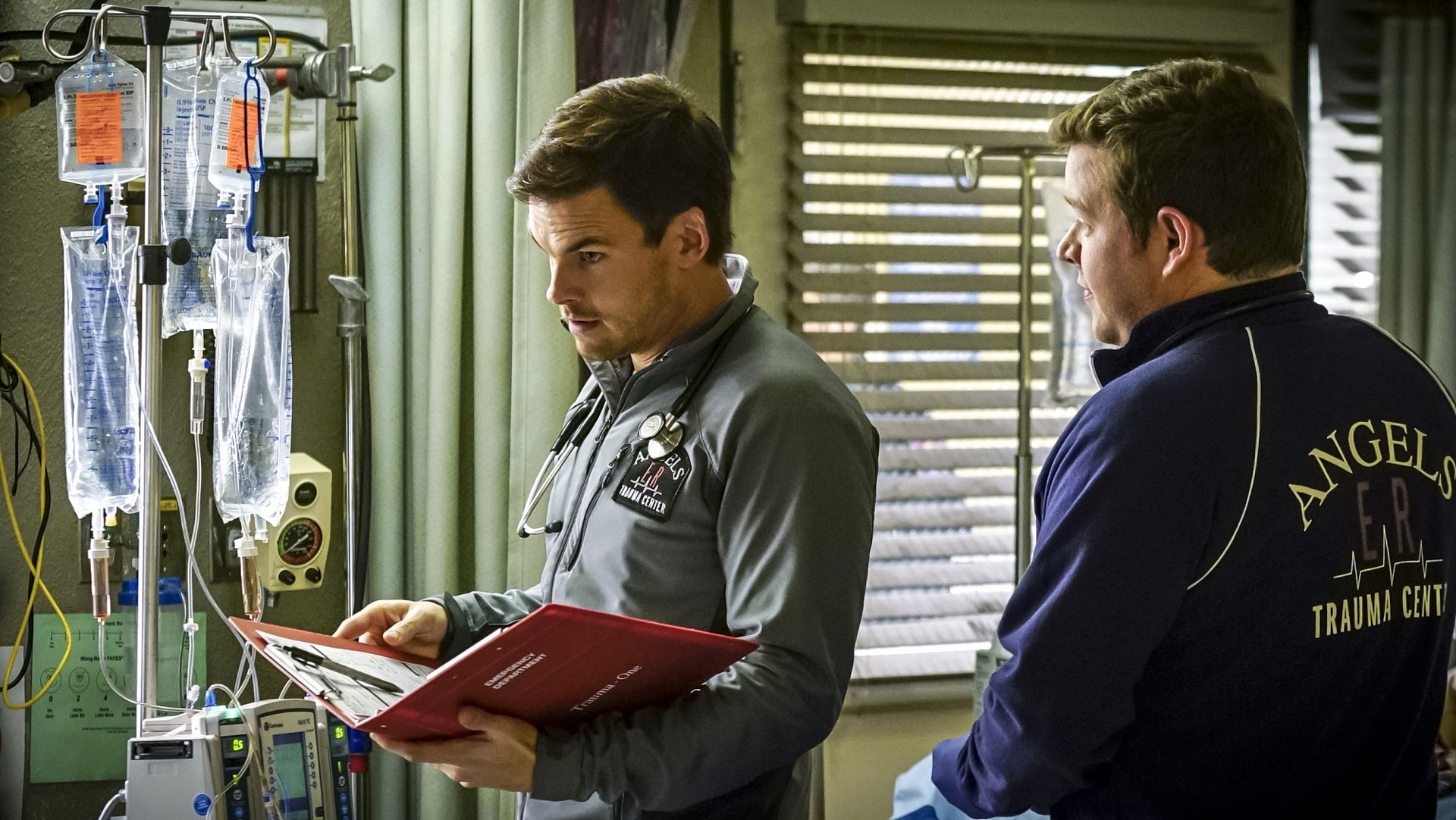 Tommy Dewey as Dr. Mike Leighton and Harry Ford as Dr. Angus Leighton