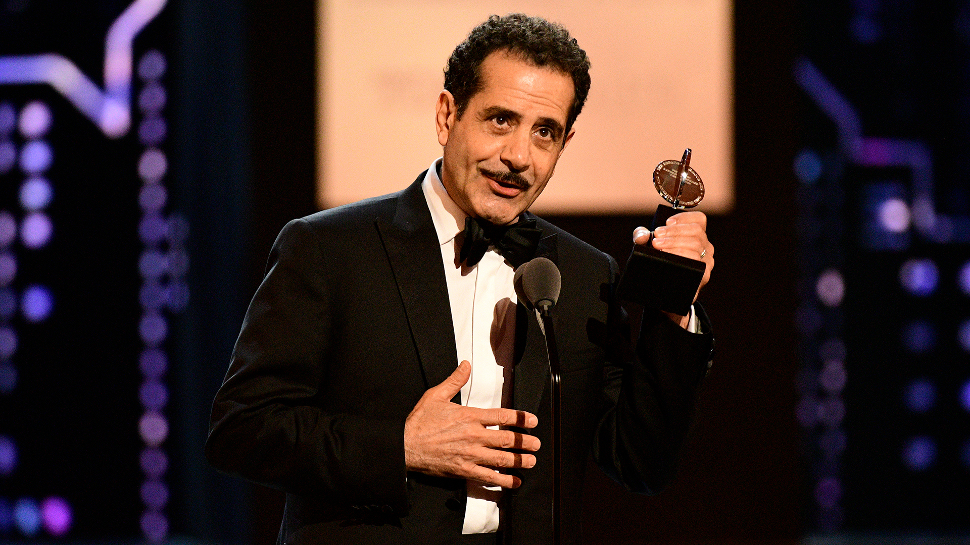 Tony Shalhoub wins Best Leading Actor in a Musical at the 2018 Tony Awards.