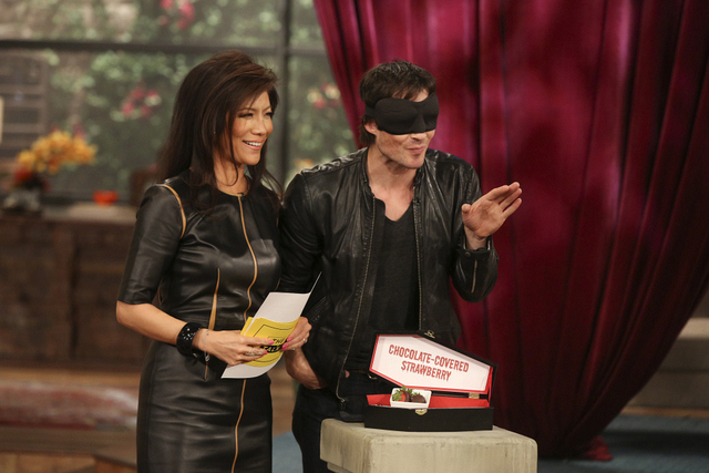 "10. Playing ""What Am I Biting"" with Ian Somerhalder."