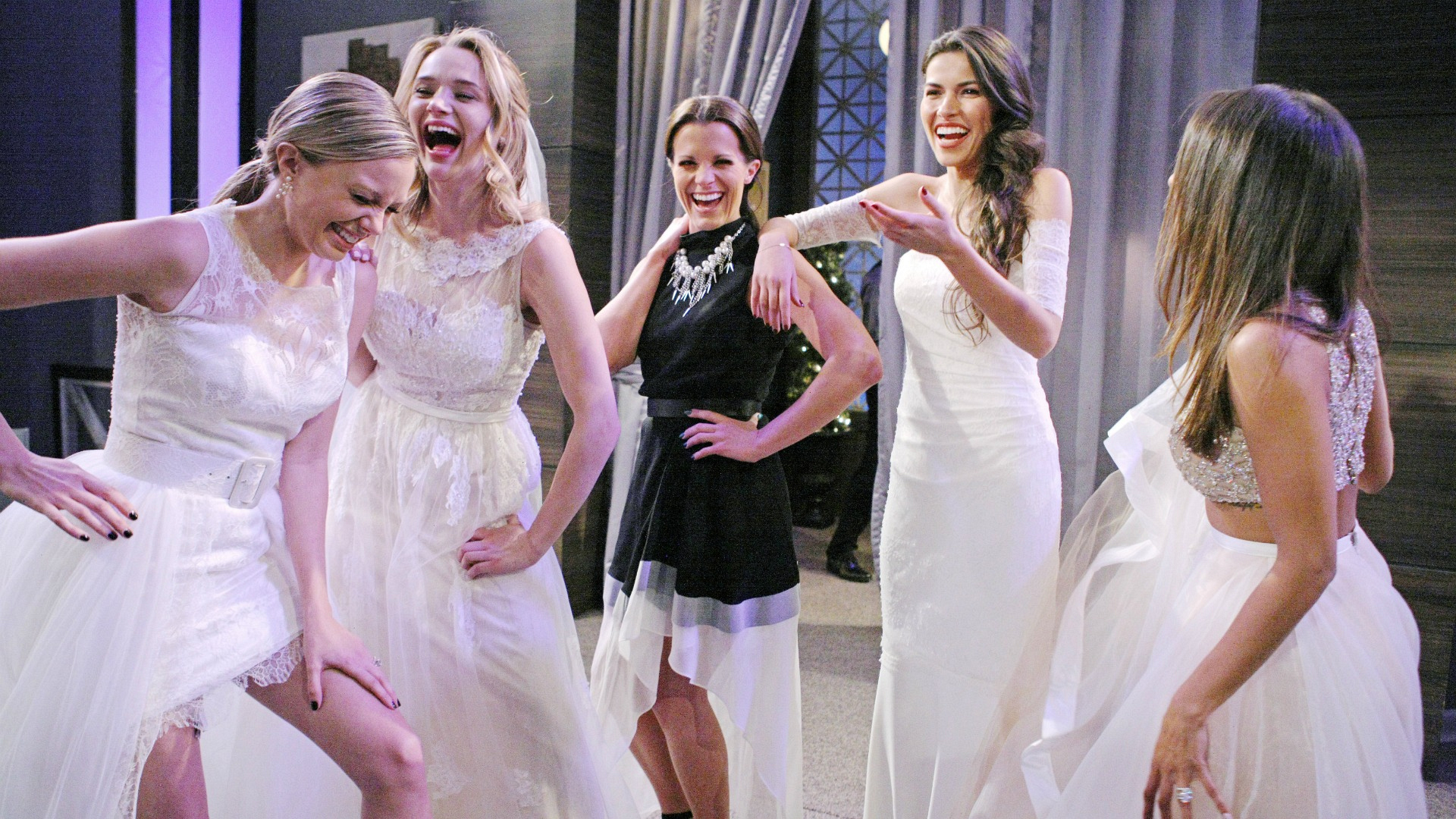 The beautiful stars of The Young and the Restless found time for fun in between breaks filming Abby and Stitch's NYE wedding.