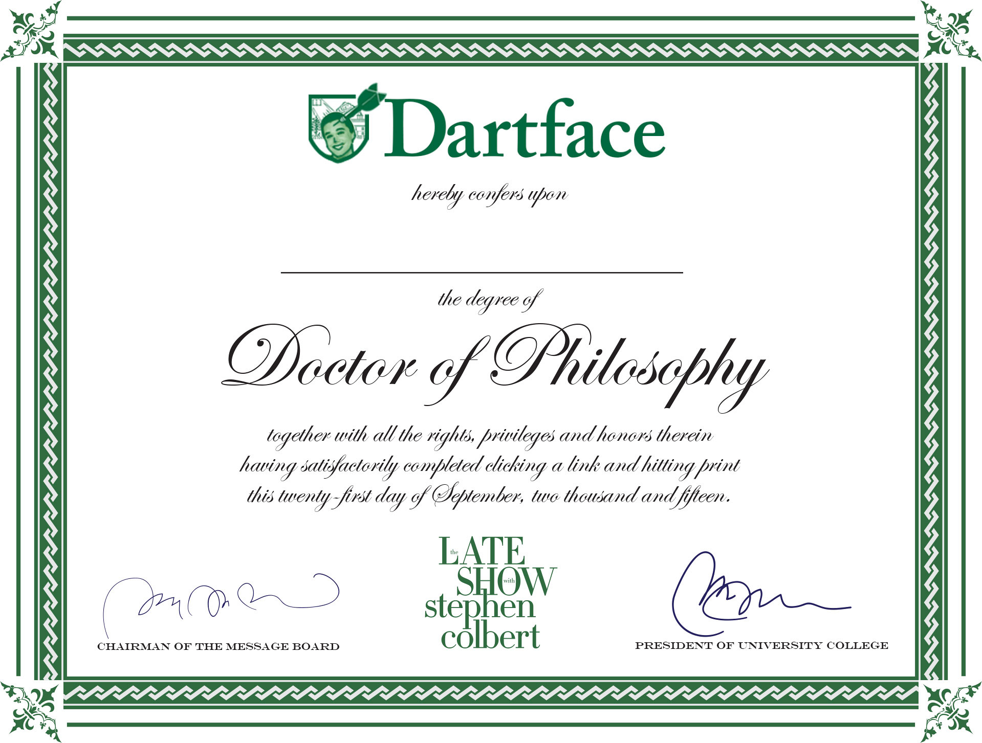 stephen colberts totally legitimate online phd program cbscom - Dog Show Certificate Template