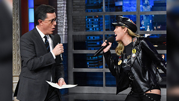 Miley Cyrus Rehearses With Stephen Colbert For Her Elton John Duet