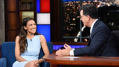 Stephen Colbert Welcomes Alexandria Ocasio-Cortez And Chris Christie For Live Shows