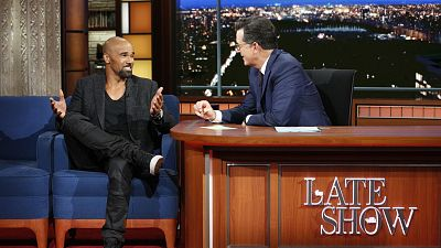Shemar Moore And Stephen Colbert Compare Abs