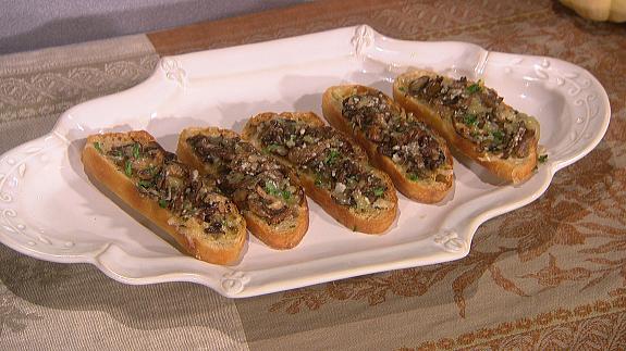 Get Lidia Bastianich S Baked Mushroom Crostini Recipe Cbs Com